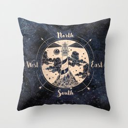 Compass World Star Map Throw Pillow