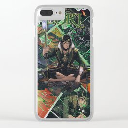 Loki God of Mischief Comic Art Collage Clear iPhone Case