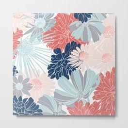 Floral Prints, Coral, Aqua, Gray, Navy Blue, Colourful Prints Metal Print