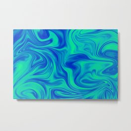 Liquid Marble (Blue & Green) Metal Print