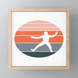 A Nice German Fencing Tee For Fencers Silhouette Of A Retro Fencer T-shirt Design Attack Defense Framed Mini Art Print