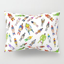 Superhero Butts with Villians - Light Pattern Pillow Sham