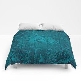 Metallic Teal Floral Pattern Comforters