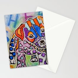Rocky Parson Jack Russell Terrier Hounds Labrador Dog Puppy Red Pet Design Colorful Bright Love Stationery Cards