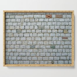 Wall of white bricks and other colors Serving Tray