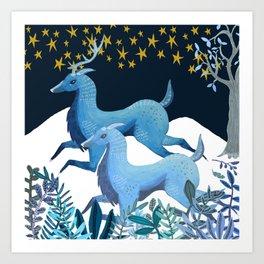 Ice Deers Art Print