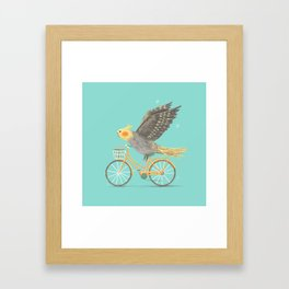 Cockatiel on a Bicycle Framed Art Print