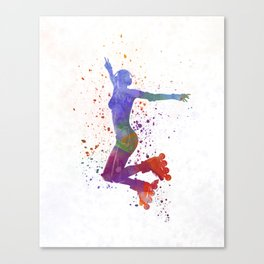 Woman in roller skates 05 in watercolor Canvas Print
