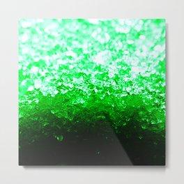 Emerald Green Ombre Crystals Metal Print