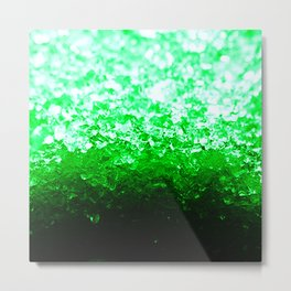 Emerald Green Ombre Crystals Metal Print