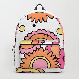 Retro Style Doodle Flowers - Orange Pink Yellow Backpack