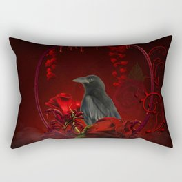 Wonderful crow with roses Rectangular Pillow