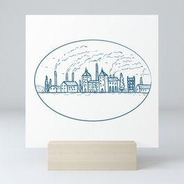 Industrial Revolution Landscape Drawing Mini Art Print