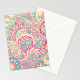 Pink Turquoise Girly Chic Floral Paisley Pattern Stationery Cards