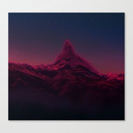 Pink mountains at night Canvas Print