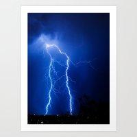 lightning Art Prints featuring Lightning by pakowacz