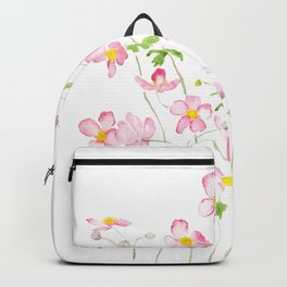 Pink Japanese Anemone field watercolor painting Backpack