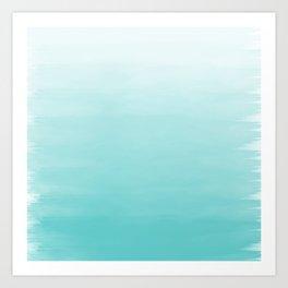 Modern teal watercolor gradient ombre brushstrokes pattern Art Print