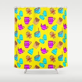 Lovely gingerbread men cookies, chocolate bars, hot cocoa with marshmallows, tea pots winter pattern Shower Curtain