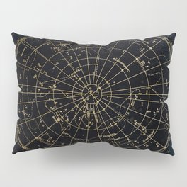 Golden Star Map Pillow Sham