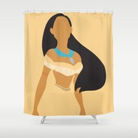 minimalist Shower Curtains featuring Pocahontas - Minimalist by Adrian Mentus