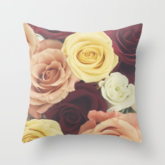 Vintage Roses II Throw Pillow