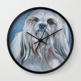 Lhasa Apso dog art portrait from an original painting by L.A.Shepard Wall Clock