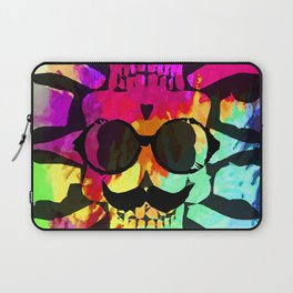 old vintage funny skull art portrait with painting abstract background in red purple yellow green Laptop Sleeve