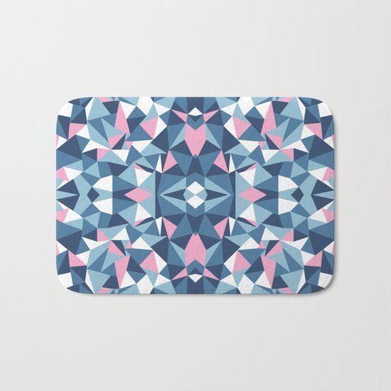 Abstract Collide Blue and Pink Bath Mat