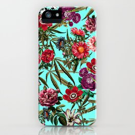 Marijuana and Floral Pattern II iPhone Case