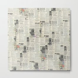 Newsprint Newspaper Art Metal Print