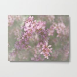 Abstract Pink and Green Flowers Metal Print