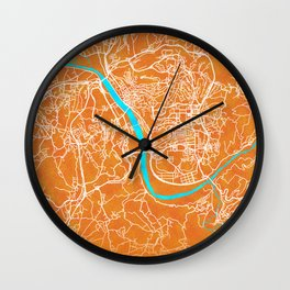 Coimbra, Portugal, Gold, Blue, City, Map Wall Clock