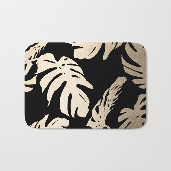 Simply Palm Leaves in White Gold Sands on Midnight Black Bath Mat