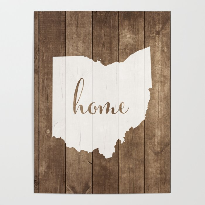 Ohio is Home - White on Wood Poster