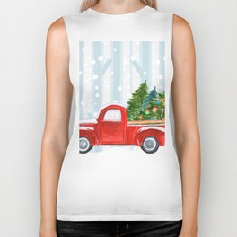 Christmas Red PickUp Truck on a Snowy Road Biker Tank