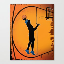 Basketball Player Silhouette Canvas Print