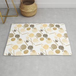 Knitting Needles and Crochet hook and Balls of Wool Yarn - Neutral Palette Rug