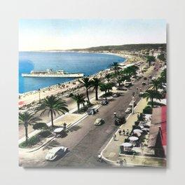 Vintage Promenade Des Anglais in Nice Metal Print