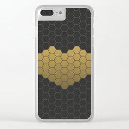 Beehive Hexagonal Geometric Heart Clear iPhone Case