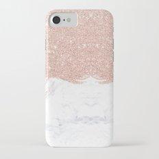 Trendy modern faux glitter rose gold brushstrokes white marble  Slim Case iPhone 7