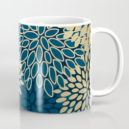 Christmas, Flower Garden, Gold and Navy, Floral Prints Coffee Mug