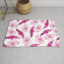Hand painted neon pink magenta watercolor floral Rug