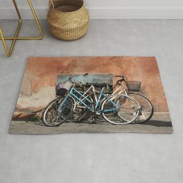 Two Vintage Bicycles Against a Wall, Trastevere, Rome, Italy Rug