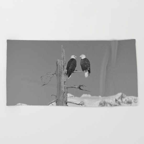 Perched With A View Duo - B & W Beach Towel
