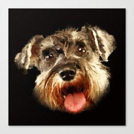 Miniature Schnauzer Portrait Watercolor Digital Art Canvas Print