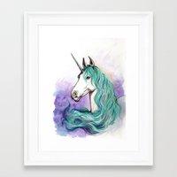 unicorn Framed Art Prints featuring Unicorn by Pendientera