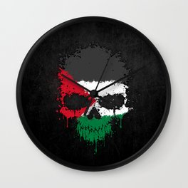 Flag of Palestine on a Chaotic Splatter Skull Wall Clock