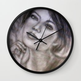 Pencil Portrait Drawing  - American Actress - Emma Stone Wall Clock
