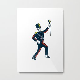 Drum Major Marching Band Leader Woodcut Metal Print